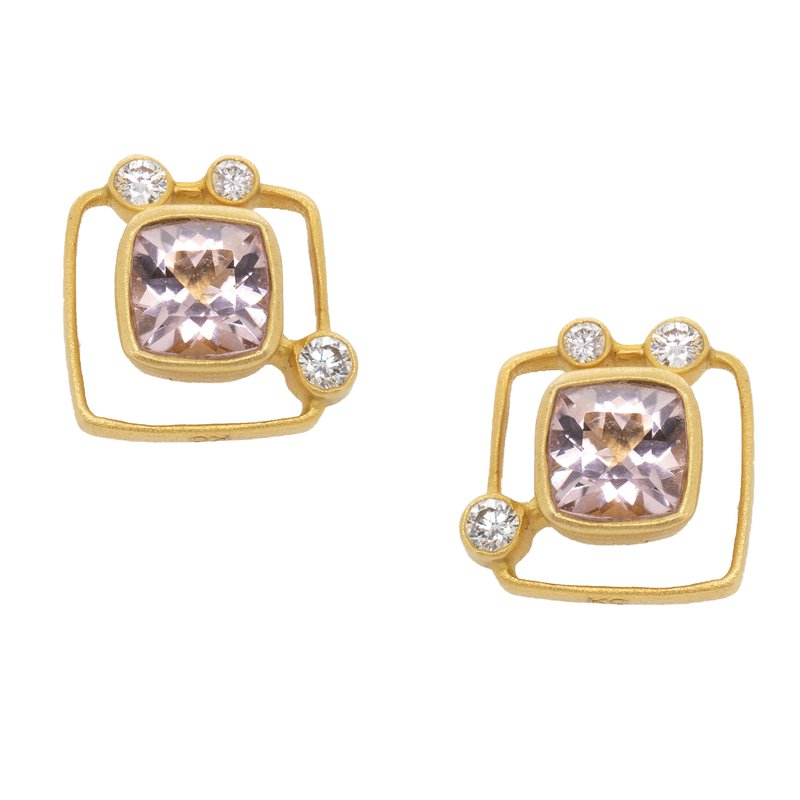Extended Collection Morganite and Diamond Studs in 18K Gold