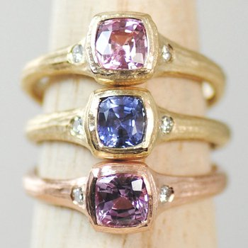 Light Pink Sapphire (0.89ct) Ring with Diamond Accents in 18K Gold