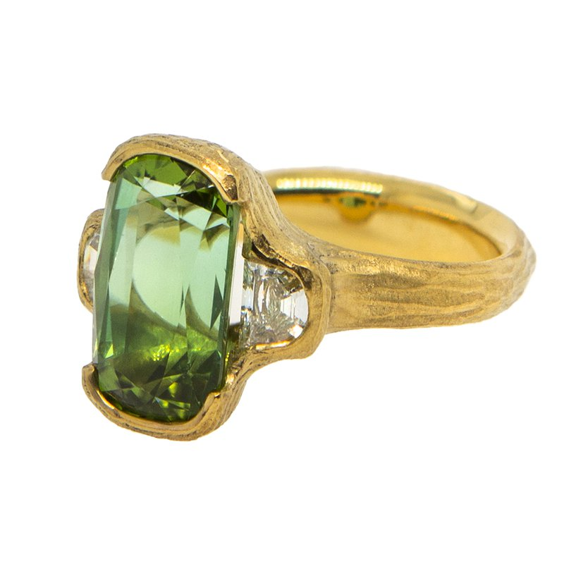 Michael Endlich Designs Half-Bezel Tourmaline (6.06ct) Ring with Diamond Accents in 22K Gold
