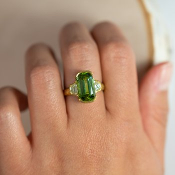 Half-Bezel Tourmaline (6.06ct) Ring with Diamond Accents in 22K Gold