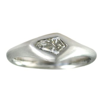 Flush Set Kite Shaped Diamond (0.43ct) Ring in Platinum