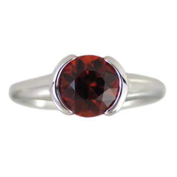 Partial Bezel Set Spessartite Garnet (2.81ct) Ring in Platinum