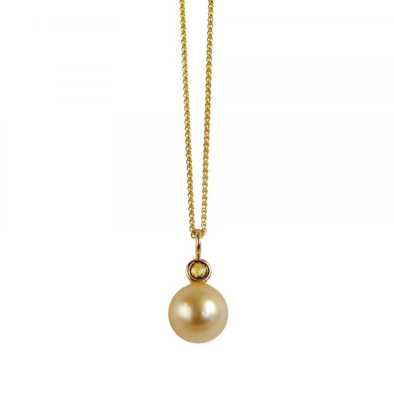 Pavé Fine Jewelry Golden Pearl with Diamond Accent Yellow Gold Necklace