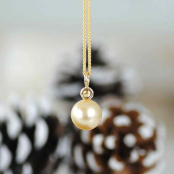 Golden Pearl with Diamond Accent Yellow Gold Necklace