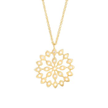 Geometric Circle Pendant with Diamonds in Gold