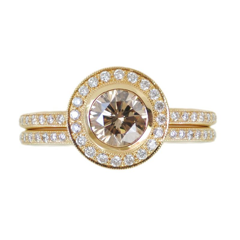 Extended Collection Light Brown Diamond (1.03ct) Ring and Matching Eternity Band