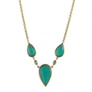 3 Pear-Shaped Chrysocolla Cabochons Necklace in 18K Gold