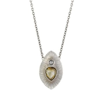 Champagne Diamond (1.03ct) Statement Necklace in Platinum (18 inches)