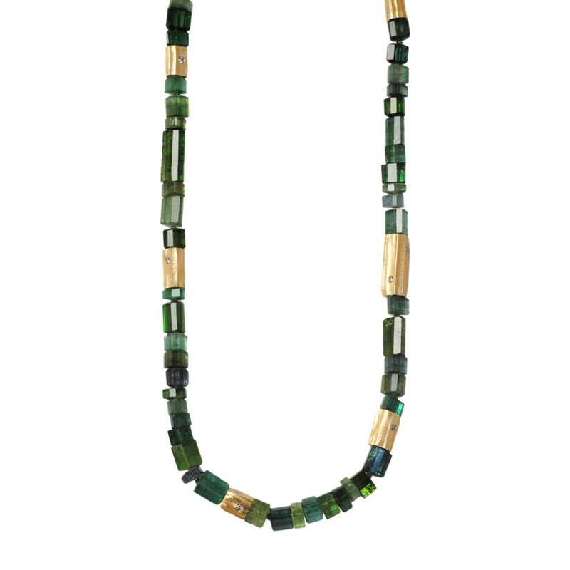 Michael Endlich Designs Green Tourmaline Necklace with 18K Yellow Gold and Diamond Accents (19.5 inches)