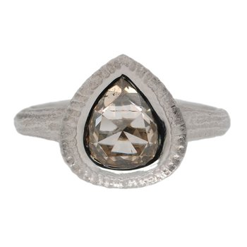 Pear Shaped Champagne Diamond (1.33ct) Ring in Platinum