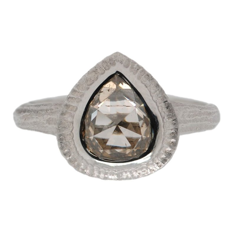 Michael Endlich Designs Pear Shaped Champagne Diamond (1.33ct) Ring in Platinum