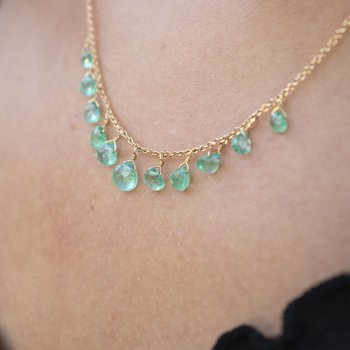 Emerald Briolette Necklace in Gold