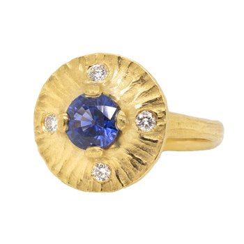 Blue Sapphire Ring with Diamonds in 22K Gold