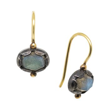 Labradorite Earrings in Gold and Oxidized Silver