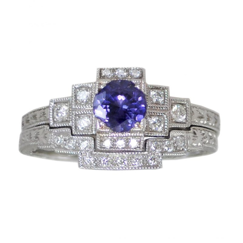 Extended Collection Vintage-Inspired Sapphire Ring with Matching Diamond Band in 18K White Gold