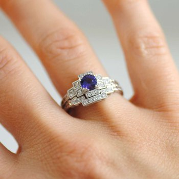 Vintage-Inspired Sapphire Ring with Matching Diamond Band in 18K White Gold
