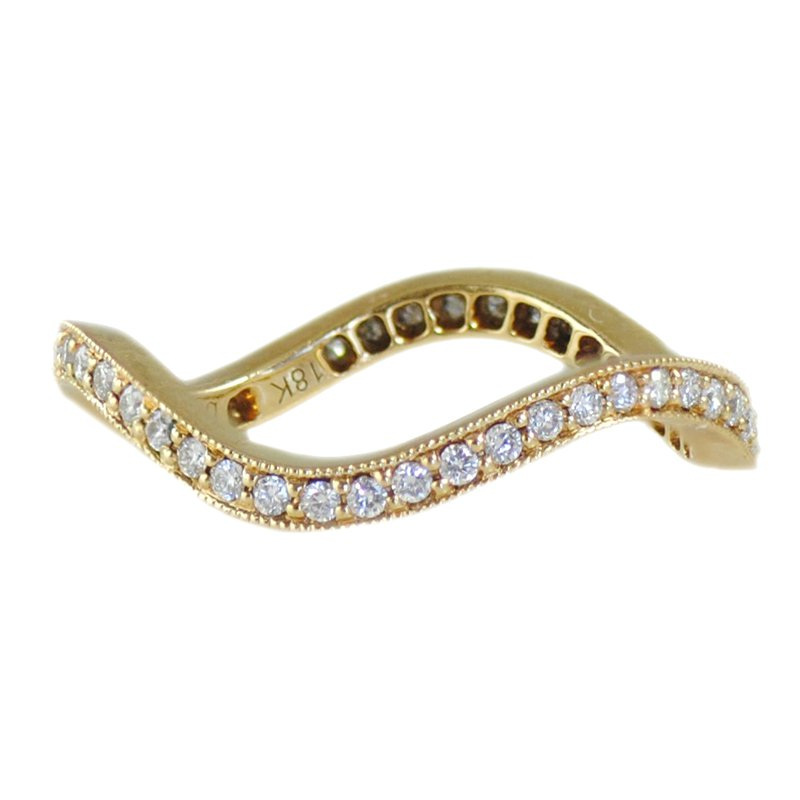 Extended Collection Wave Shaped Band with Pavé-Set Diamonds (0.35ctw) in 18K Gold