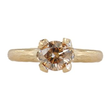 Cognac Diamond (0.72ct) Ring with Diamond Accents in 18K Gold