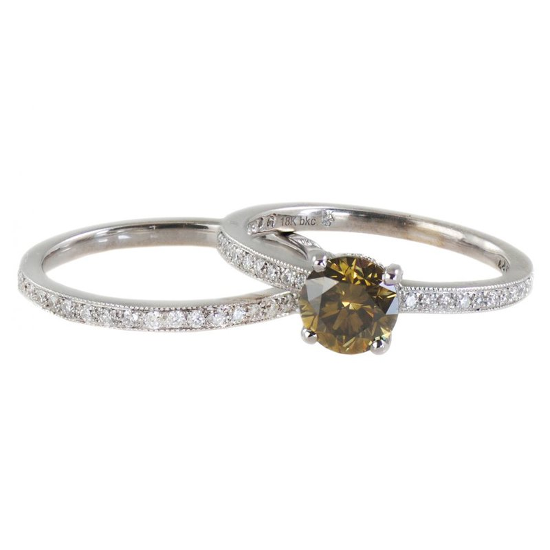 Extended Collection Bridal Set with Colored Diamond and Eternity Band