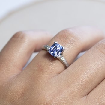 Light Blue Sapphire Ring with Diamond Accents in Platinum