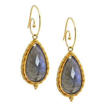 Labradorite Drop Earrings in 18K Gold