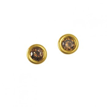 Cognac Diamond (0.74ctw) Studs in 22K and 18K Yellow Gold