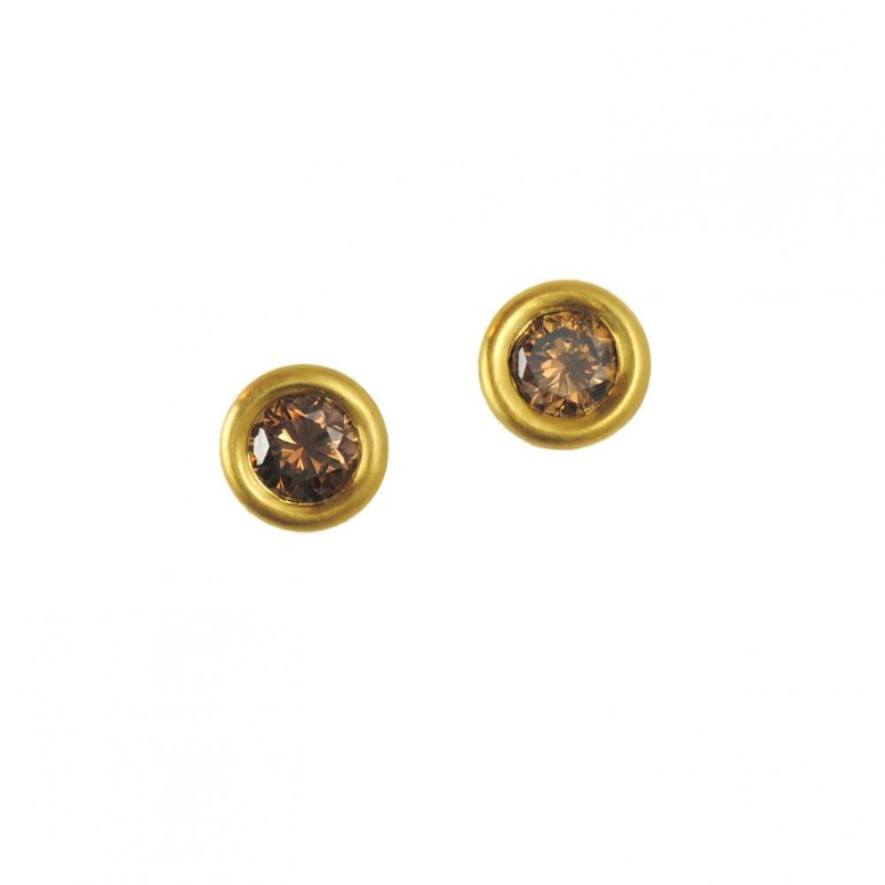 Pavé Fine Jewelry Cognac Diamond (0.74ctw) Studs in 22K and 18K Yellow Gold