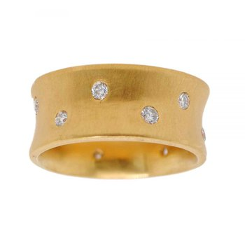 24K Yellow Gold Concave Band with Diamonds