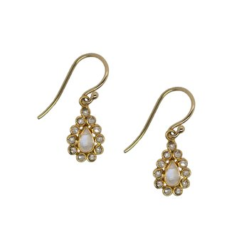 Moonstone Dangle Earrings in 18K Yellow Gold