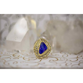 Boulder Opal (9.26ct) Ring with 56 Diamond Accents in 22K Gold