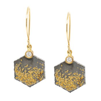 Hexagon Oxidized Silver and Gold Dust Earrings with Diamond Accents