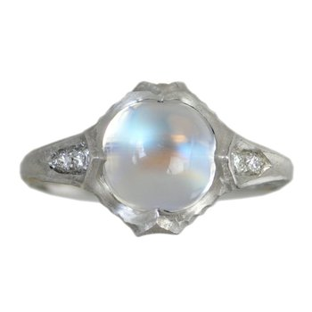 Moonstone (3.65ct) Ring with Diamond Accents in Platinum