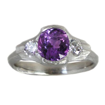Purple Sapphire (1.93ct) Ring with Diamond Accents in Platinum