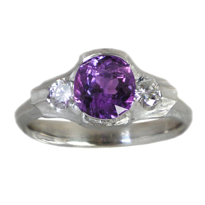 Michael Endlich Designs Purple Sapphire (1.93ct) Ring with Diamond Accents in Platinum