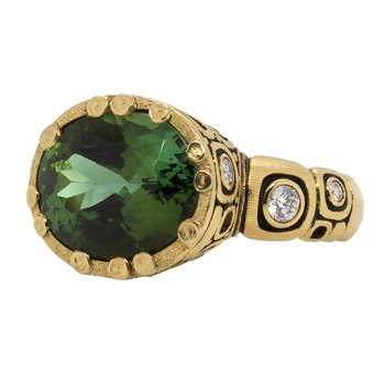 Deep Green Tourmaline (6.94 ct) Ring with Diamonds in 18K Gold