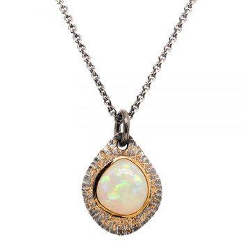 Opal (11.83ct) Necklace in Oxidized Silver and Gold Dust