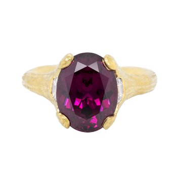 Garnet (6.58ct) Ring with Diamond Accents in 22K Gold