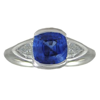 Blue Sapphire (1.83ct) Ring Flanked by Diamonds in Platinum