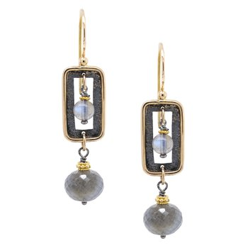 Labradorite Rectangular Earrings