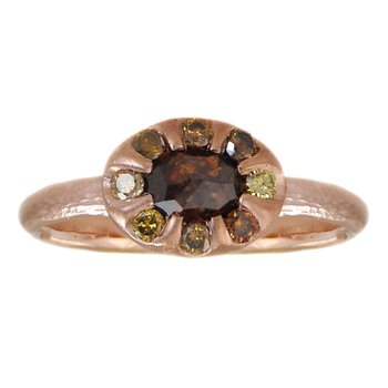 Cognac Diamond (0.81ct) & Diamond Accents Ring in 14K Rose Gold