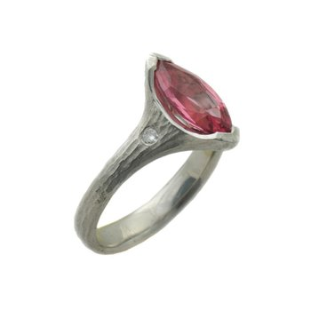 Marquise Pink-Orange Spinel (1.68ct) Ring in Platinum