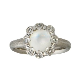 Moonstone Ring with Flower Inspired Design in Platinum