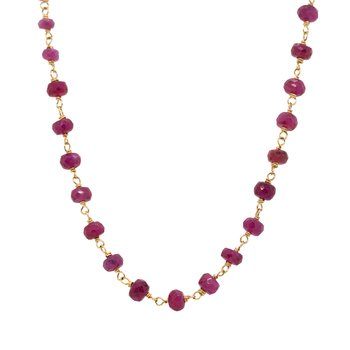 Ruby Bead Gold Necklace