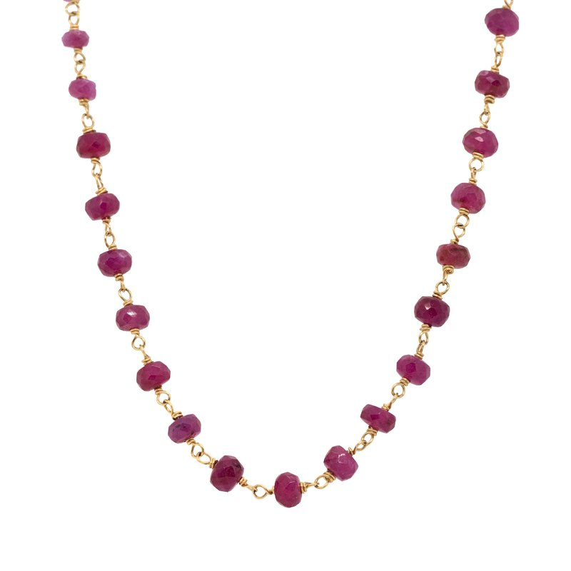 Extended Collection Ruby Bead Gold Necklace