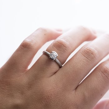 Diamond Ring with Half Bezel Set, 18K White Gold