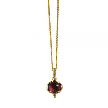 Pink Rubellite Tourmaline Necklace in 18K Yellow Gold