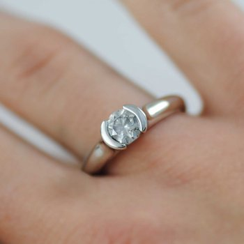 Partial Bezel Set Diamond (0.70ct) Ring in Platinum
