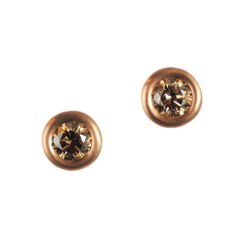 Pavé Fine Jewelry Orange-Brown Diamond (1.10ctw) Studs in 18K Rose Gold