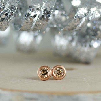 Orange-Brown Diamond (1.10ctw) Studs in 18K Rose Gold