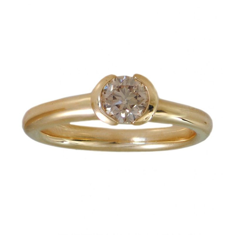 Pavé Fine Jewelry Partial Bezel Set Champagne Diamond (0.51ct) Ring in 18K Yellow Gold
